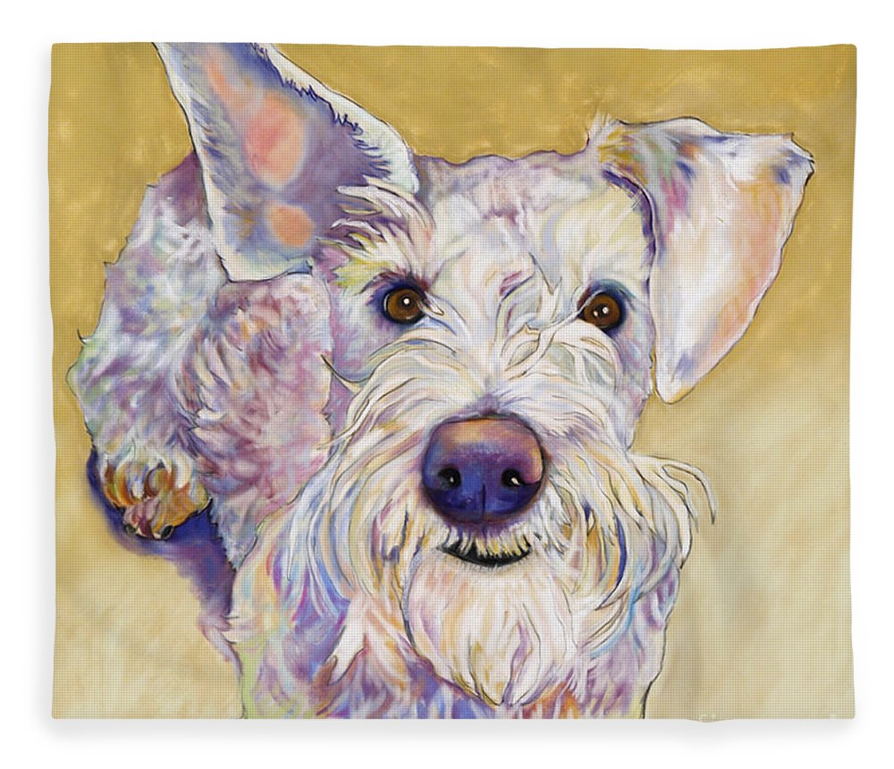 Schnauzer Fleece Blanket featuring the pastel Scooter by Pat Saunders-White
