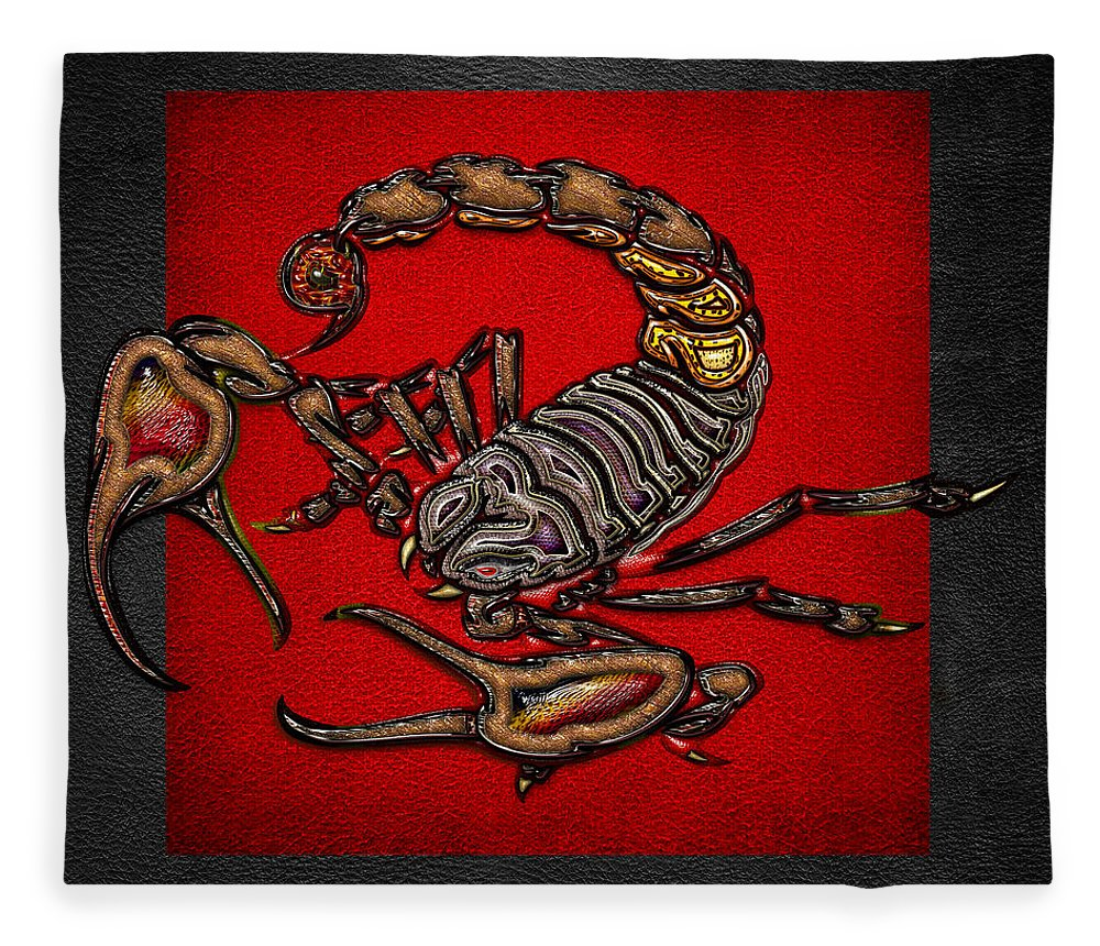 Beasts Of The Wild By Serge Averbukh Fleece Blanket featuring the photograph Scorpion On Red And Black by Serge Averbukh