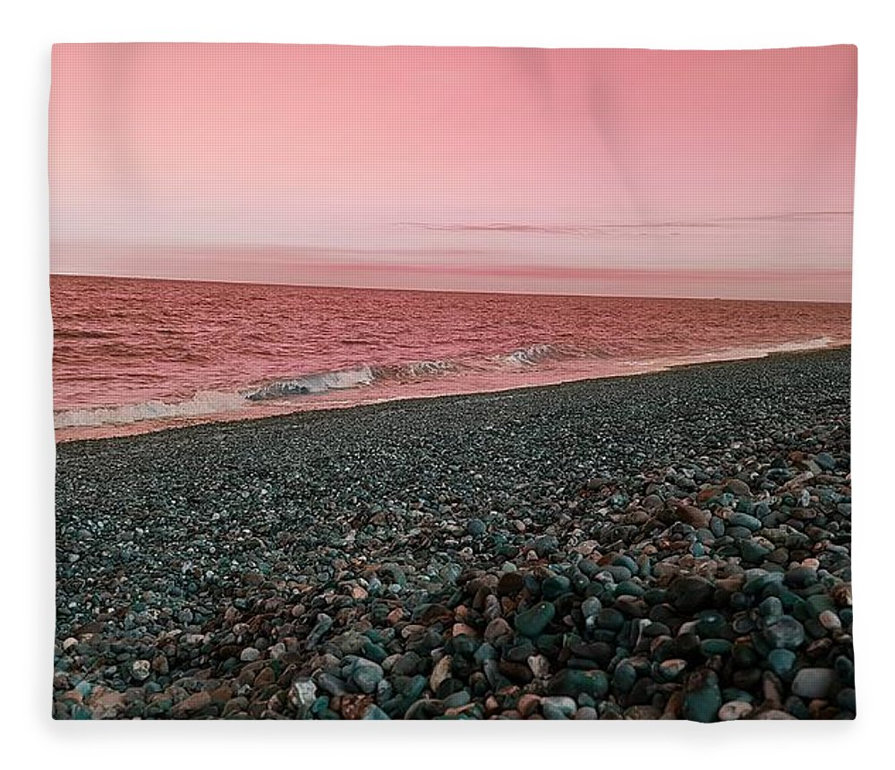 Beach Fleece Blanket featuring the photograph Sea Escape In Peach by Rowena Tutty