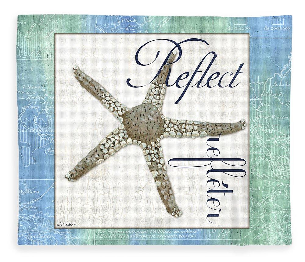 Starfish Fleece Blanket featuring the painting Sea Glass 3 by Debbie DeWitt