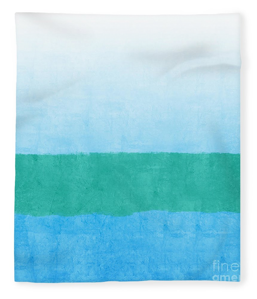 Abstract Fleece Blanket featuring the mixed media Sea Of Blues by Linda Woods