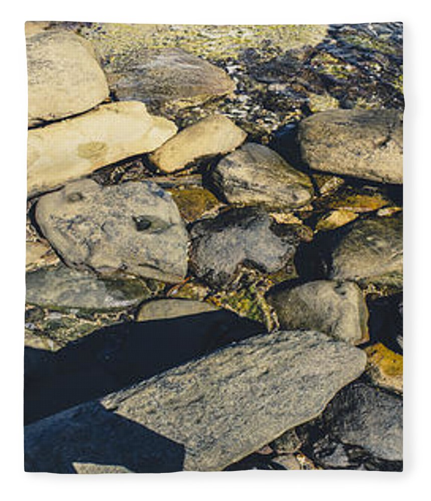 Coast; Landscape; Vertical; Panarama; Foot; Beach; Kings Beach; Rock; Panoramic; Queensland; Wet; Vibrant; Sporty; Sunshine Coast; Wellness; Australia; Refreshes; Adventure; Active; Summer; Exploration; Male; Australian; Relaxing; Afternoon; Wash; Steps; Rocks; Rocky; Stones; Boulders; First Person; Pov; Vintage; Retro; Instagram; Escape; Sea; Nature; Travel; Water; Ocean; Relax; Outdoor; Vacation; Freedom; Step; Shore; Wave; Tropical; Relaxation; Journey; Coastline; Feet; Way; Walk; Person Fleece Blanket featuring the photograph Sea Retreat Panorama by Jorgo Photography - Wall Art Gallery