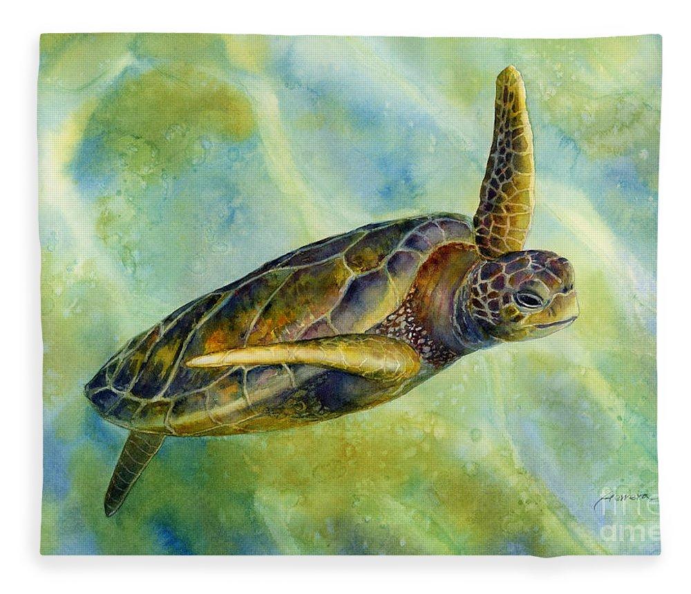 Underwater Fleece Blanket featuring the painting Sea Turtle 2 by Hailey E Herrera