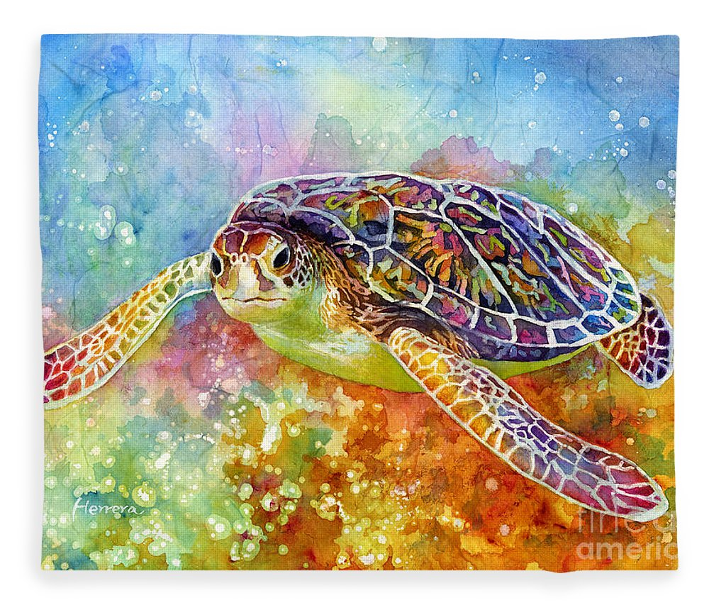 Turtle Fleece Blanket featuring the painting Sea Turtle 3 by Hailey E Herrera