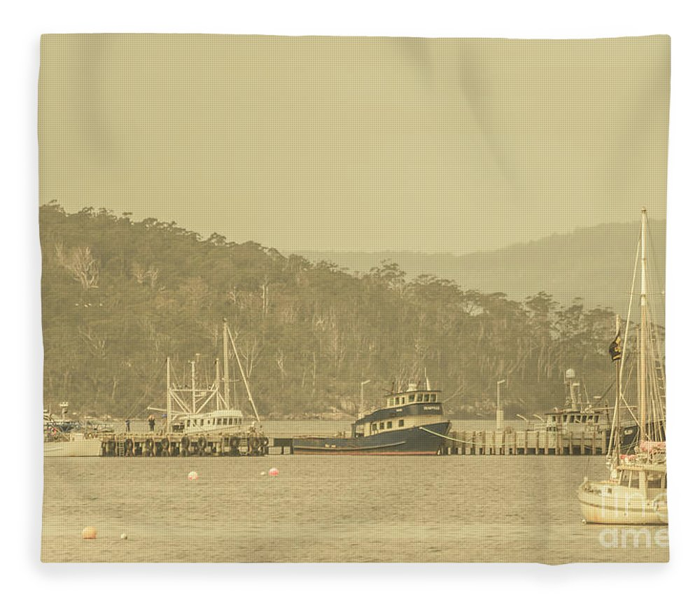 Harbour Fleece Blanket featuring the photograph Seascapes Of Old by Jorgo Photography - Wall Art Gallery