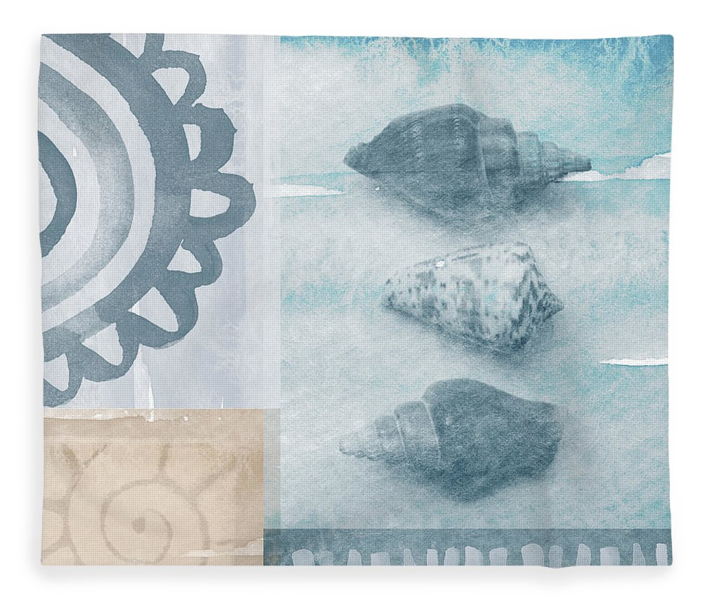 Beach Fleece Blanket featuring the painting Seashells by Linda Woods