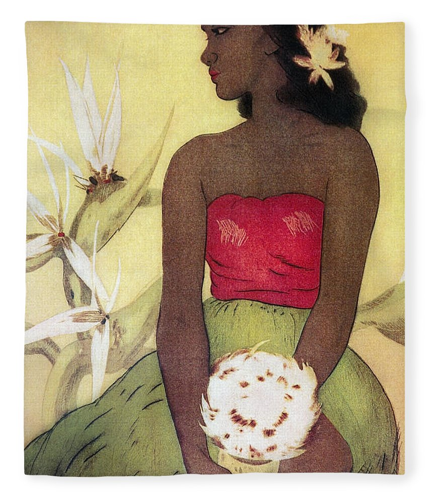 1940 Fleece Blanket featuring the painting Seated Hula Dancer by Hawaiian Legacy Archives - Printscapes