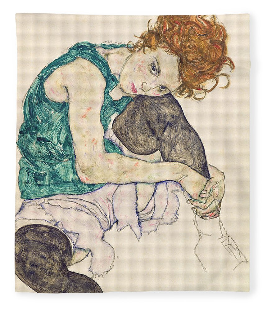 Egon Schiele Fleece Blanket featuring the painting Seated Woman with Bent Knee by Egon Schiele