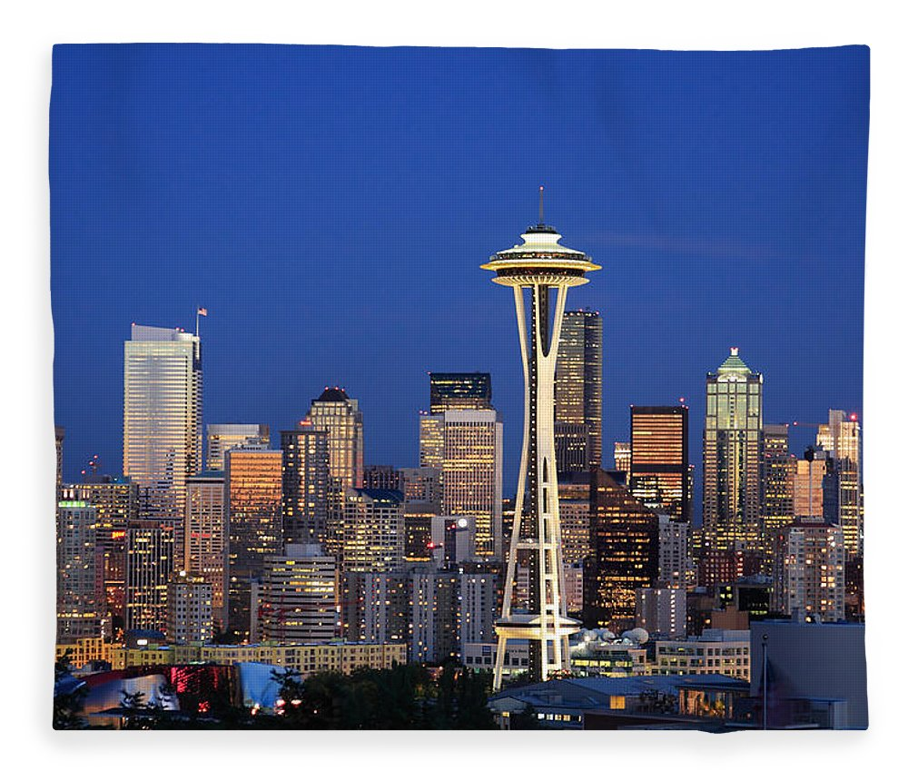 3scape Photos Fleece Blanket featuring the photograph Seattle At Dusk by Adam Romanowicz