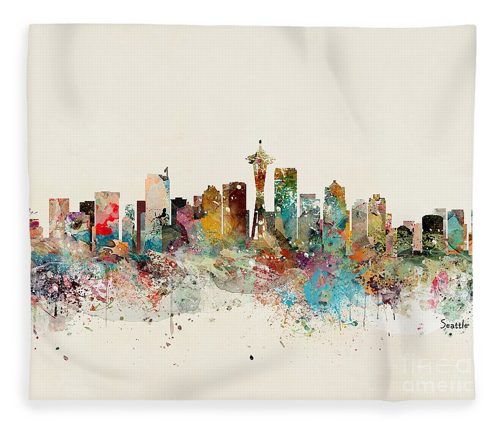 Seattle Fleece Blanket featuring the painting Seattle Skyline by Bri Buckley