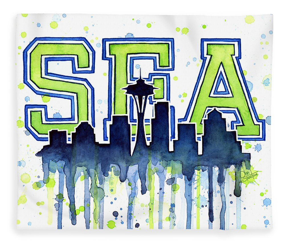 Watercolor Fleece Blanket featuring the painting Seattle Watercolor 12th Man Art Painting Space Needle Go Seahawks by Olga Shvartsur