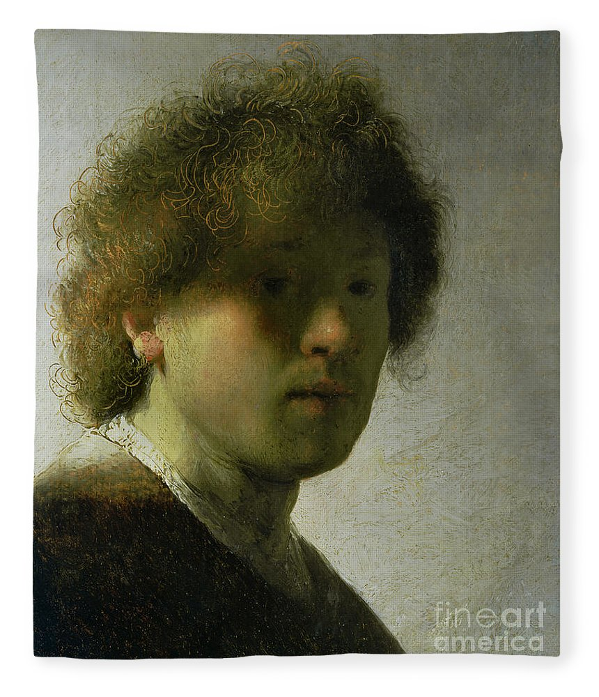 Self Fleece Blanket featuring the painting Self Portrait As A Young Man by Rembrandt
