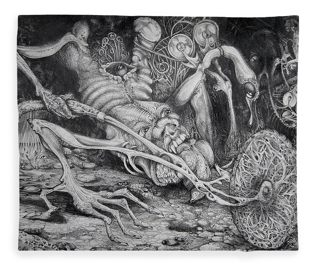Surrealism Fleece Blanket featuring the drawing Selfpropelled Beastie Seeder by Otto Rapp