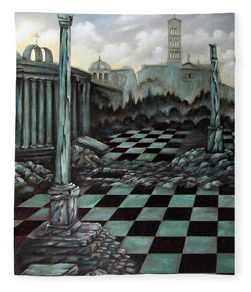 Surreal Fleece Blanket featuring the painting Sepulchre by Valerie Vescovi