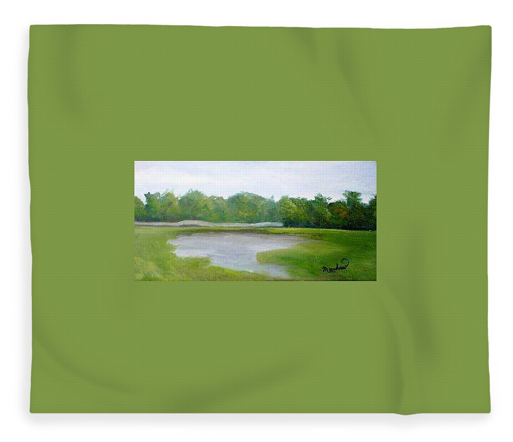 Landscape Fleece Blanket featuring the painting Serene Vista by Sheila Mashaw