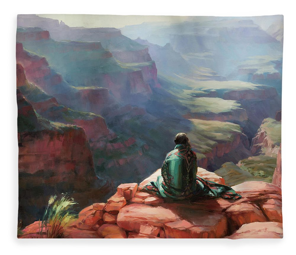 Southwest Fleece Blanket featuring the painting Serenity by Steve Henderson