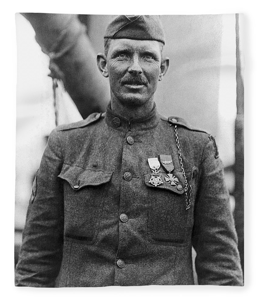Alvin York Fleece Blanket featuring the photograph Sergeant York - World War I Portrait by War Is Hell Store