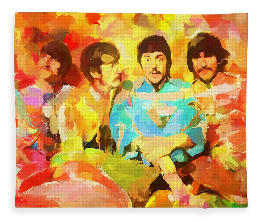 Sgt. Peppers Lonely Hearts Fleece Blanket featuring the painting Sgt. Peppers Lonely Hearts by Dan Sproul