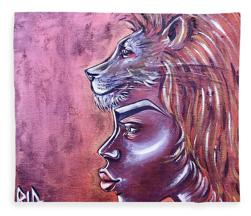 Lion Fleece Blanket featuring the painting She Has Goals by Artist RiA