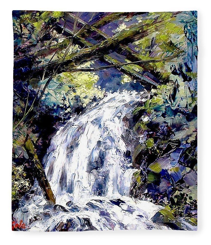 Landscape Fleece Blanket featuring the painting Shepherds Dell Falls Coumbia Gorge OR by Jim Gola