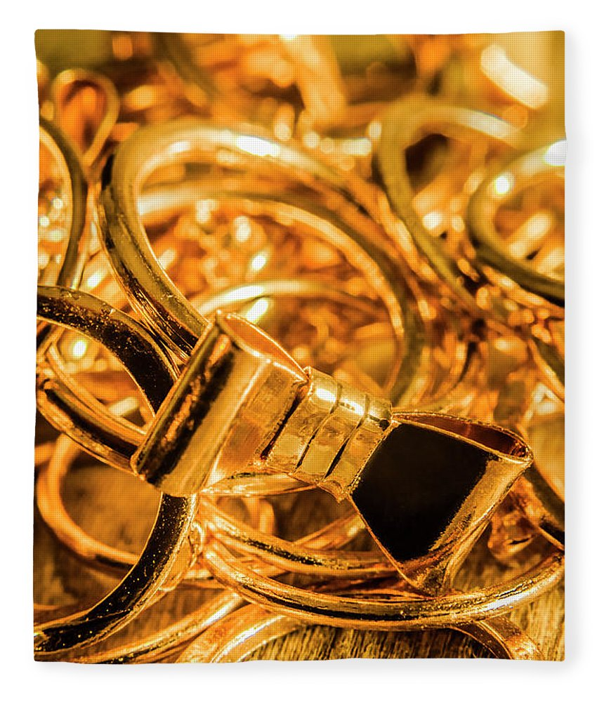 Gold Fleece Blanket featuring the photograph Shiny Gold Rings by Jorgo Photography - Wall Art Gallery