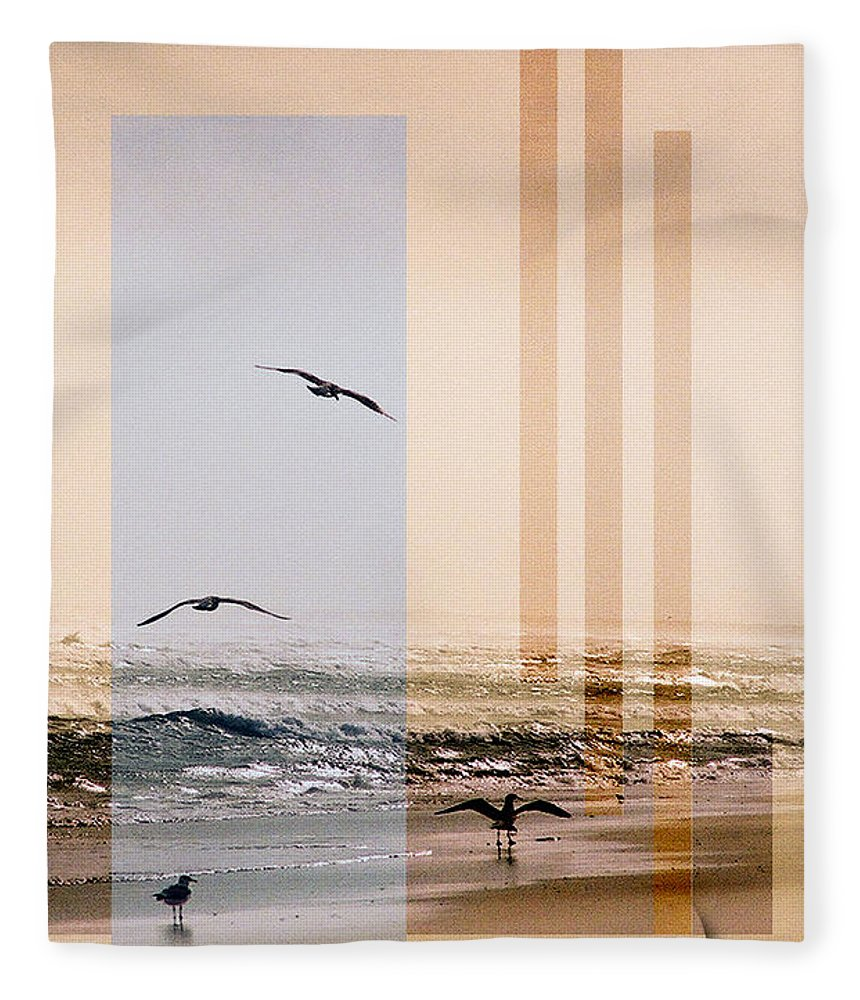 Abstract Fleece Blanket featuring the photograph Shore Collage by Steve Karol