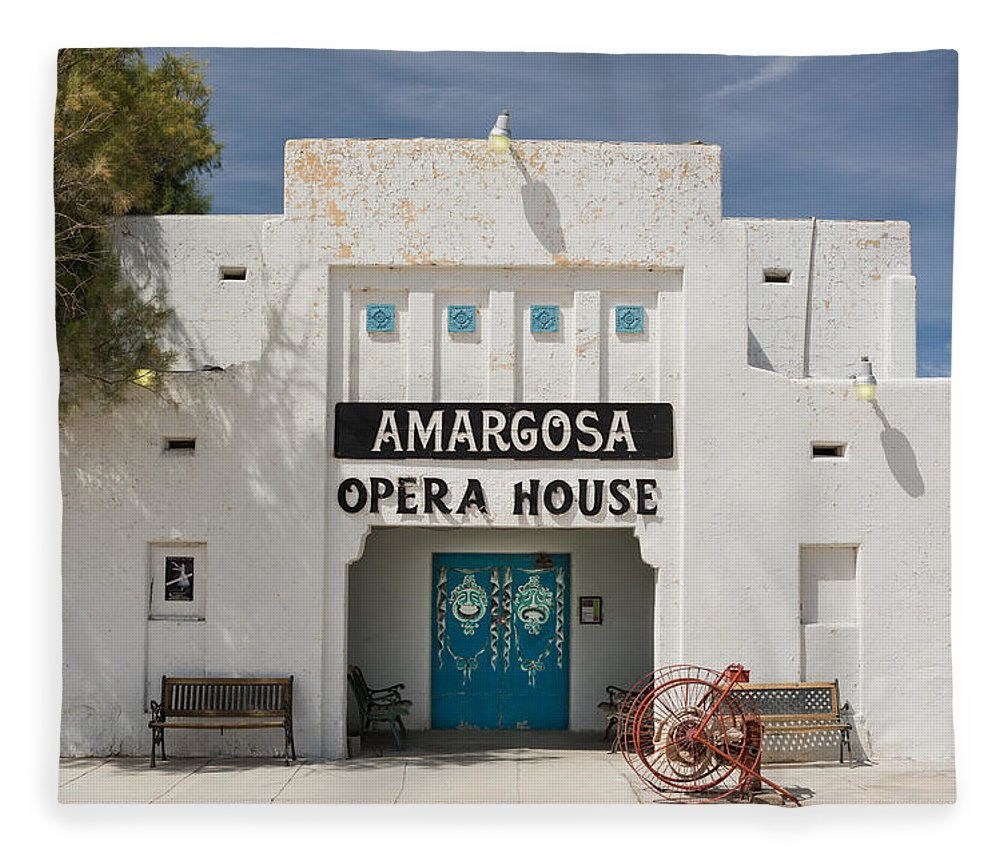 Amargosa Fleece Blanket featuring the photograph Show Tonight Amargosa Opera House by Steve Gadomski