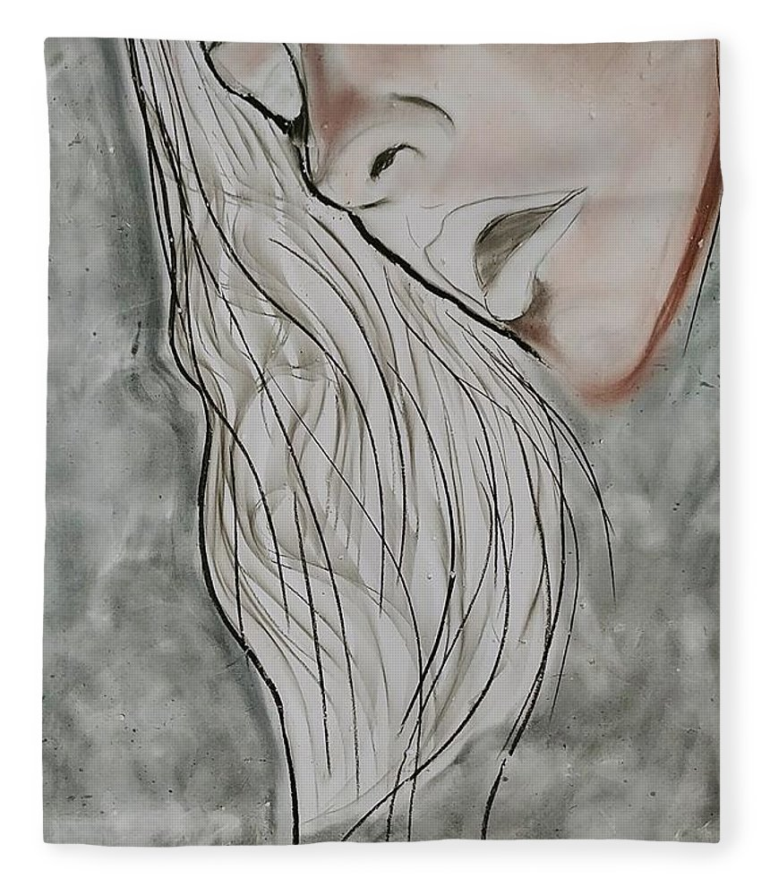 Beauty Fleece Blanket featuring the drawing Sigh by J Bauer