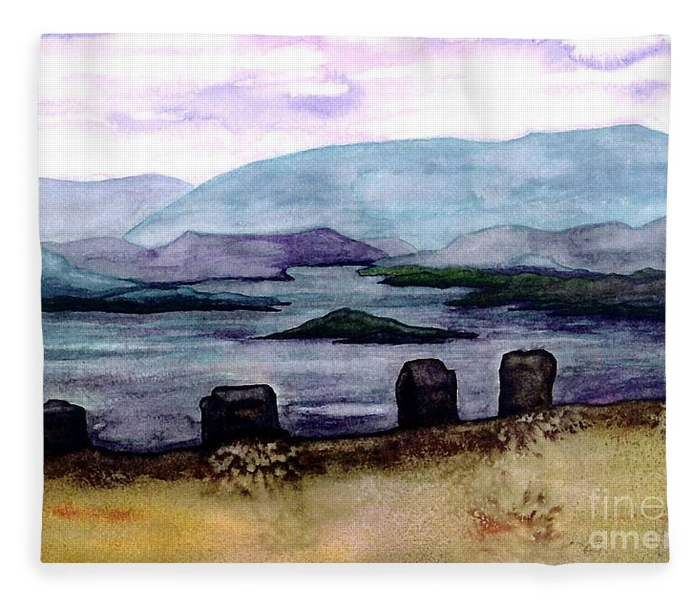 Original Painting Fleece Blanket featuring the painting Silent Sentinels by Patricia Griffin Brett