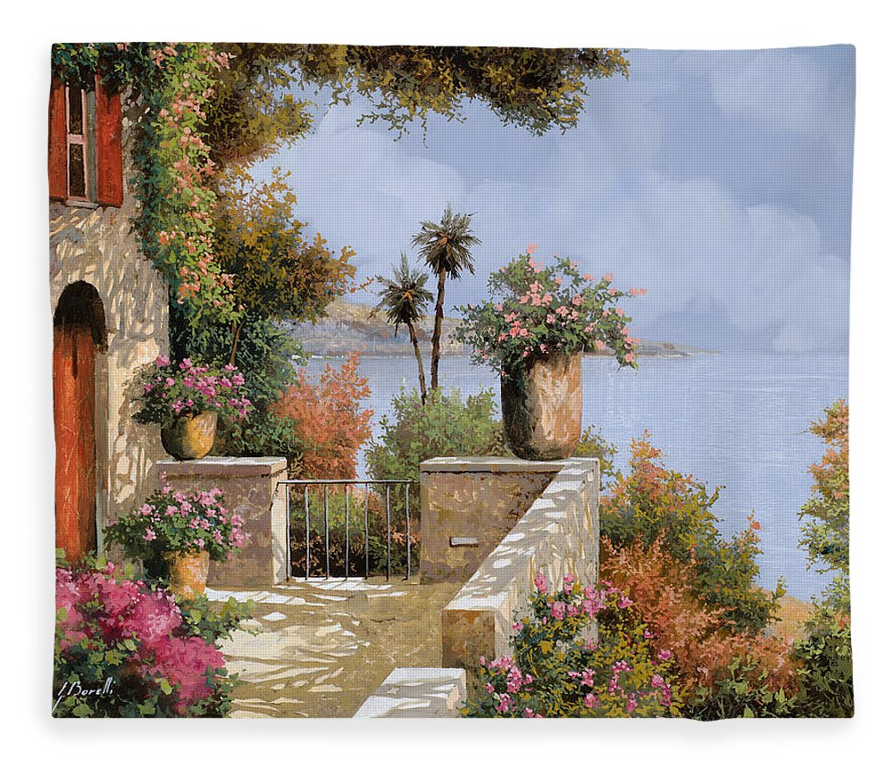Seascape Fleece Blanket featuring the painting Silenzio by Guido Borelli