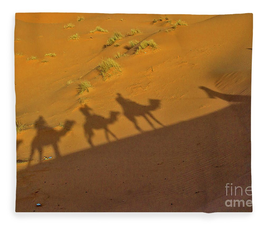 Adventure Fleece Blanket featuring the photograph Silhouettes Of Camels In The Desert by Patricia Hofmeester