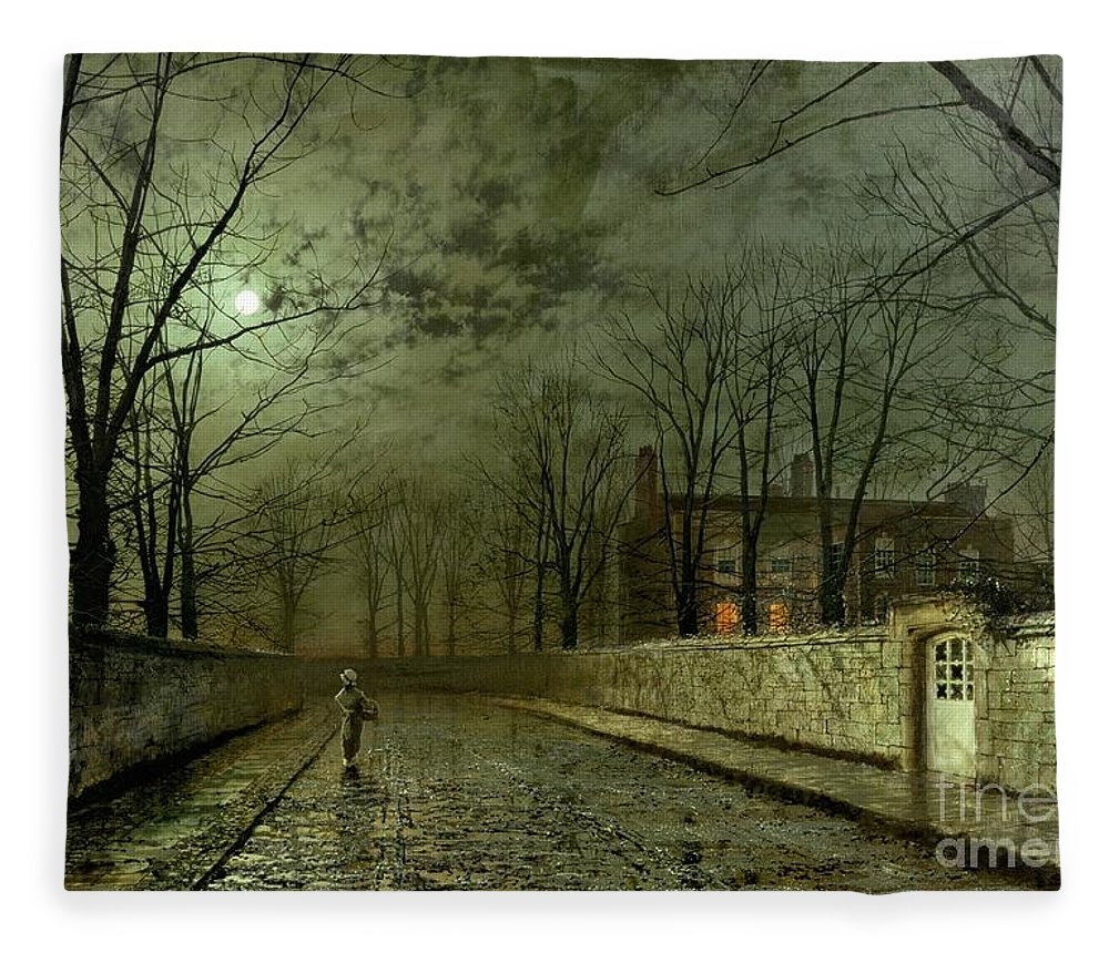 Silver Moonlight Fleece Blanket featuring the painting Silver Moonlight by John Atkinson Grimshaw