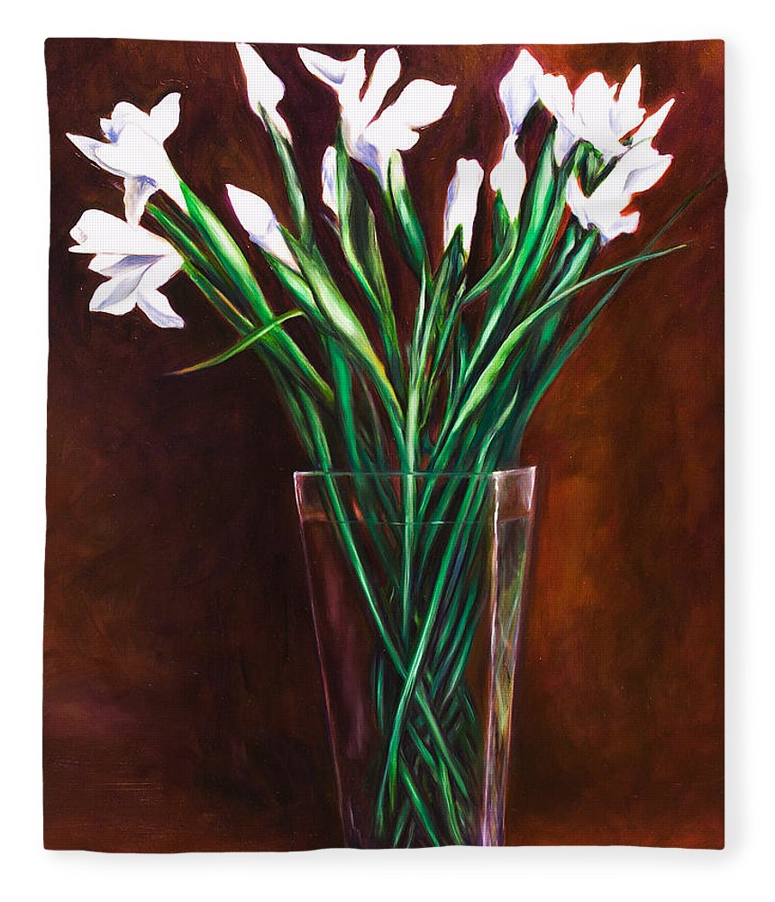 Iris Fleece Blanket featuring the painting Simply Iris by Shannon Grissom