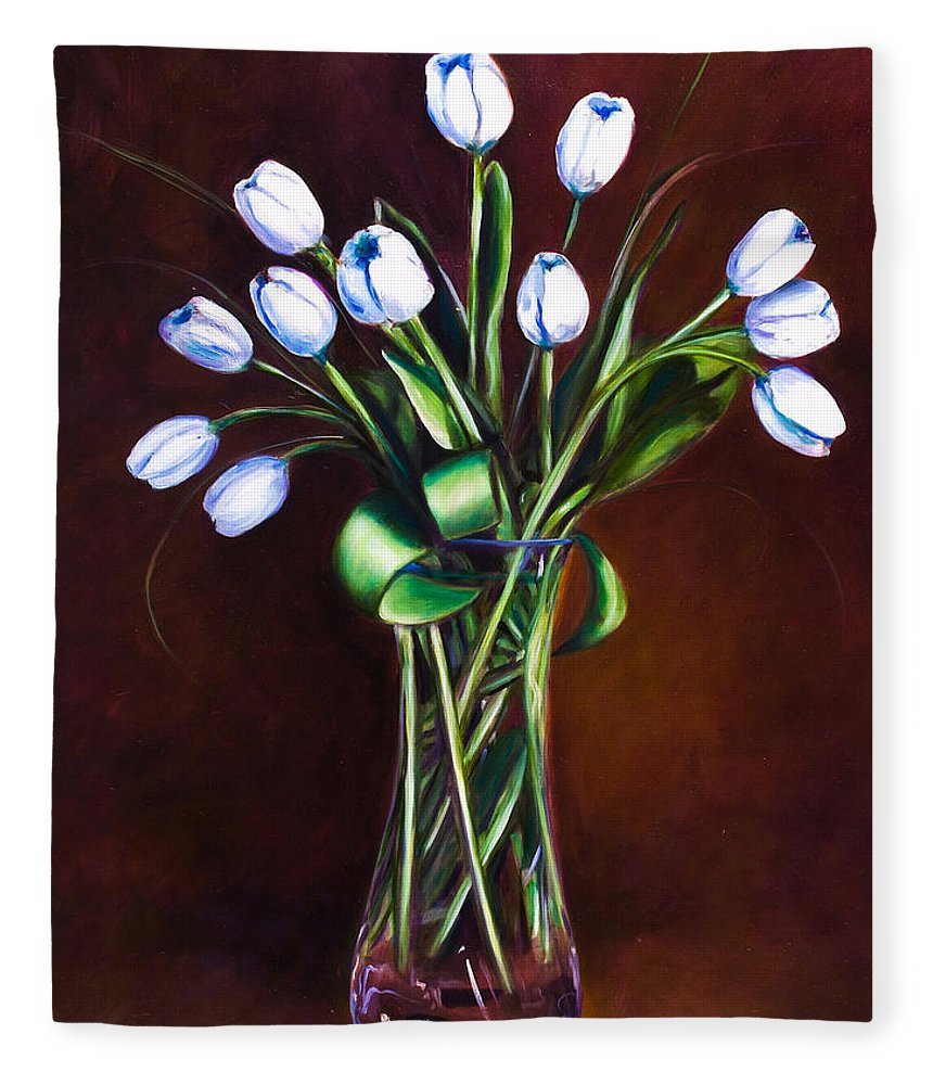 Shannon Grissom Fleece Blanket featuring the painting Simply Tulips by Shannon Grissom