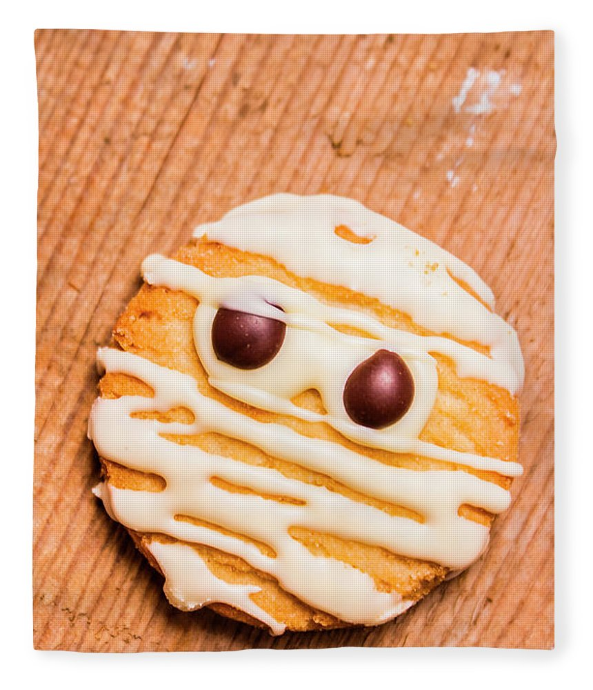 Cookies Fleece Blanket featuring the photograph Single Homemade Mummy Cookie For Halloween by Jorgo Photography - Wall Art Gallery
