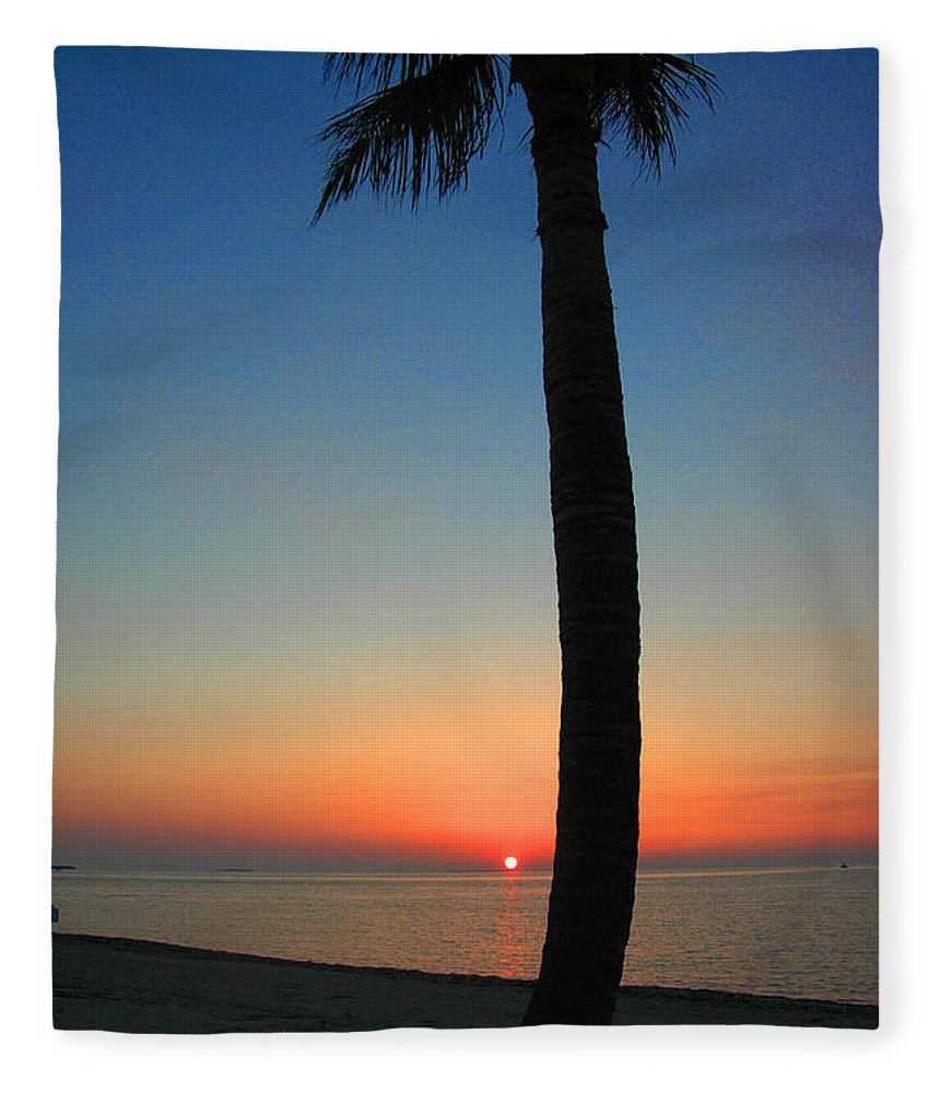 Photography Fleece Blanket featuring the photograph Single Palm And Sunset by Susanne Van Hulst