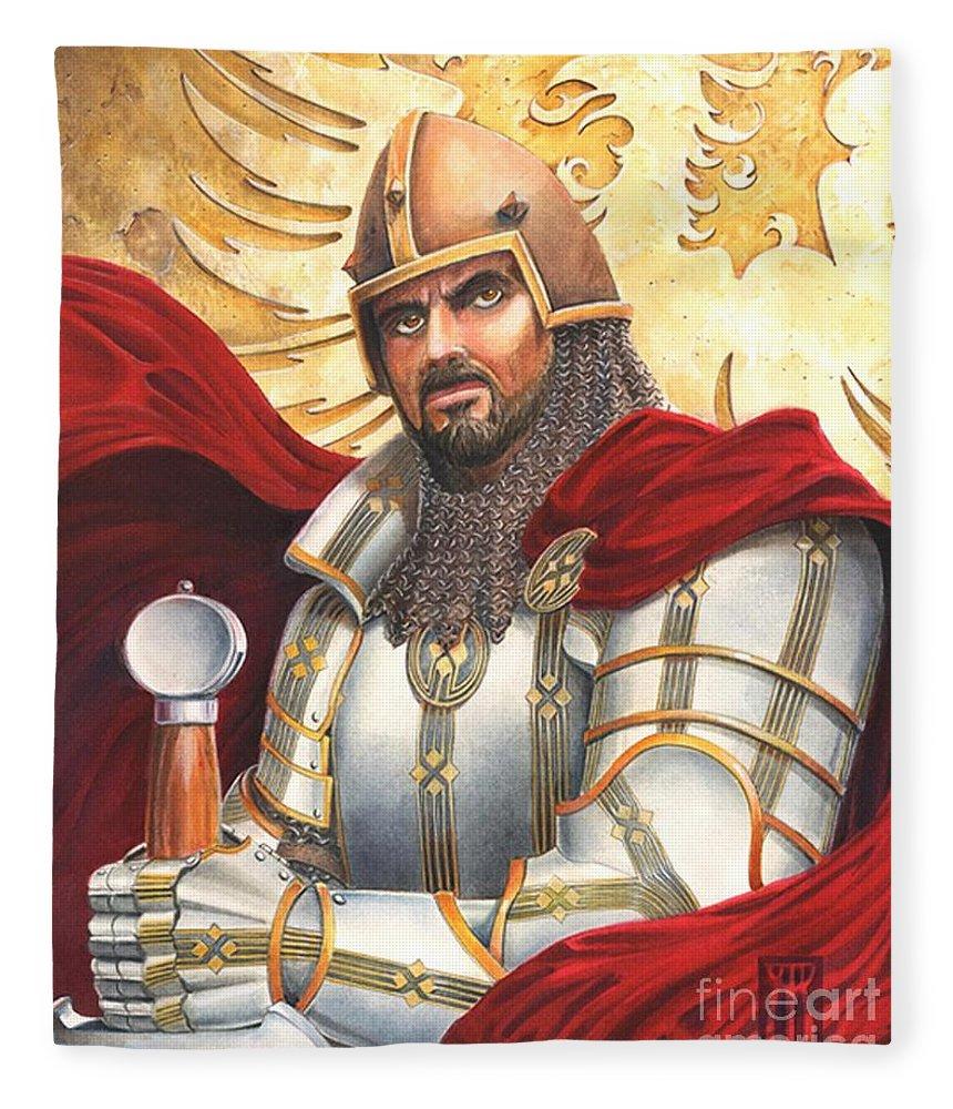 Swords Fleece Blanket featuring the drawing Sir Gawain by Melissa A Benson