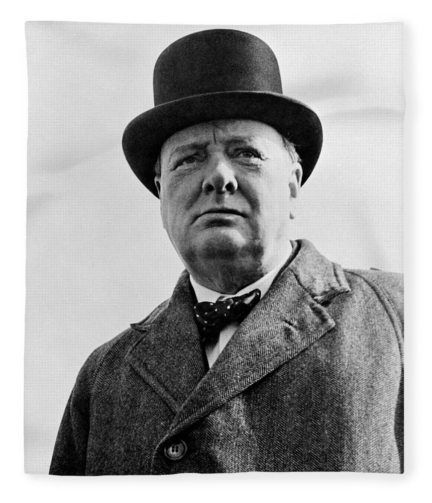 Wwii Fleece Blanket featuring the photograph Sir Winston Churchill by War Is Hell Store