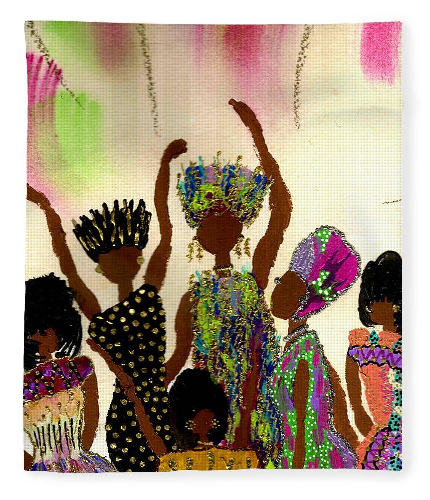 Vibrant Fleece Blanket featuring the painting Sisterhood by Angela L Walker