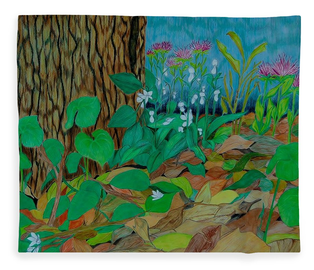 Tree Fleece Blanket featuring the mixed media Six in hiding by Charla Van Vlack