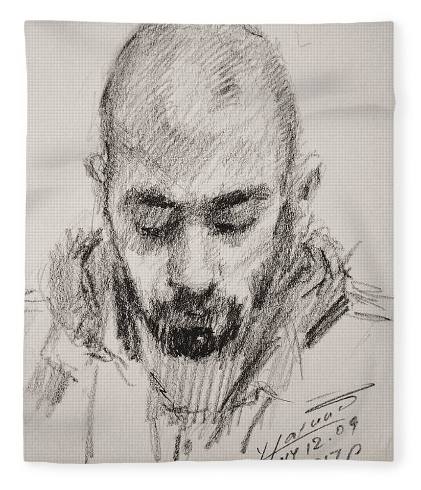 Man Fleece Blanket featuring the drawing Sketch Man 16 by Ylli Haruni
