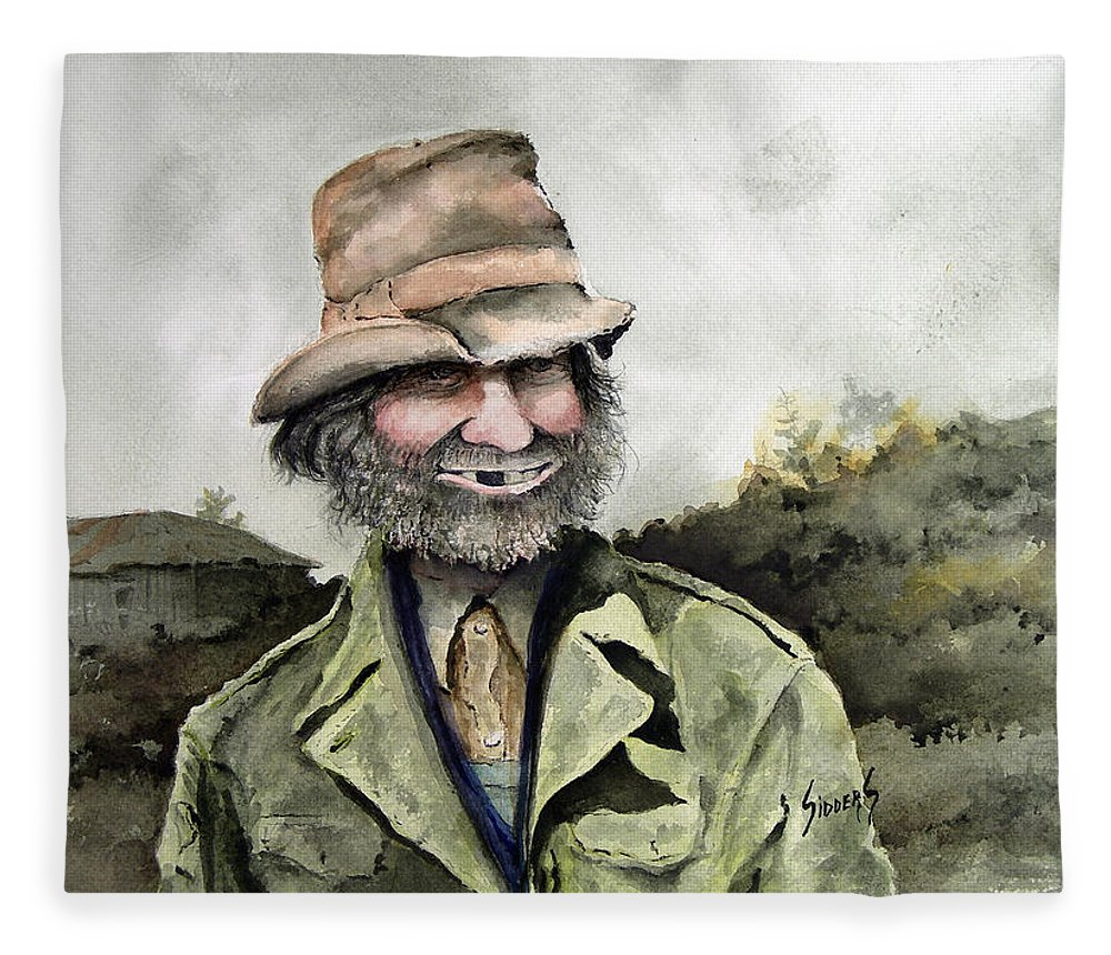 Portrait Fleece Blanket featuring the painting Skinny Benny by Sam Sidders