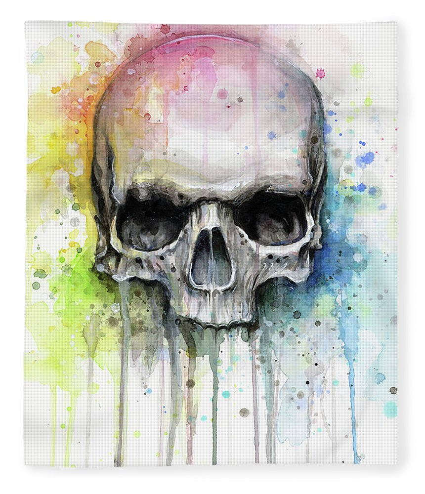 Skull Fleece Blanket featuring the painting Skull Watercolor Rainbow by Olga Shvartsur
