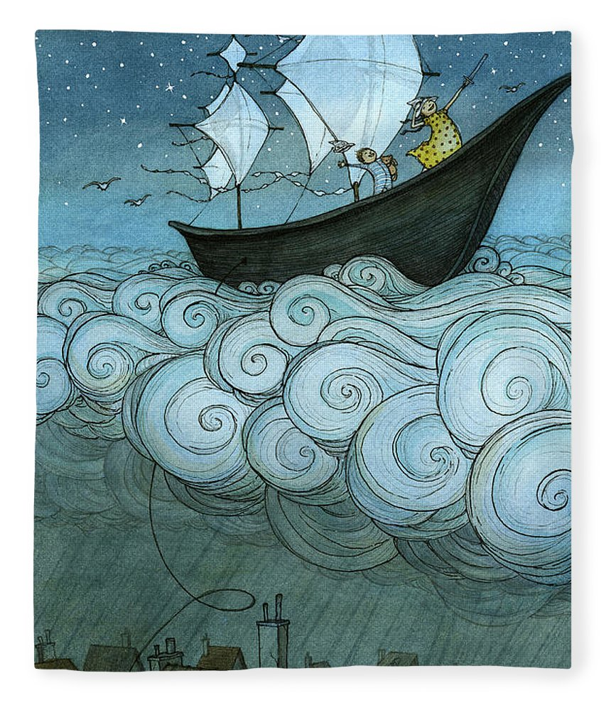 Fleece Blanket featuring the drawing Sky Sailing by Eliza Wheeler