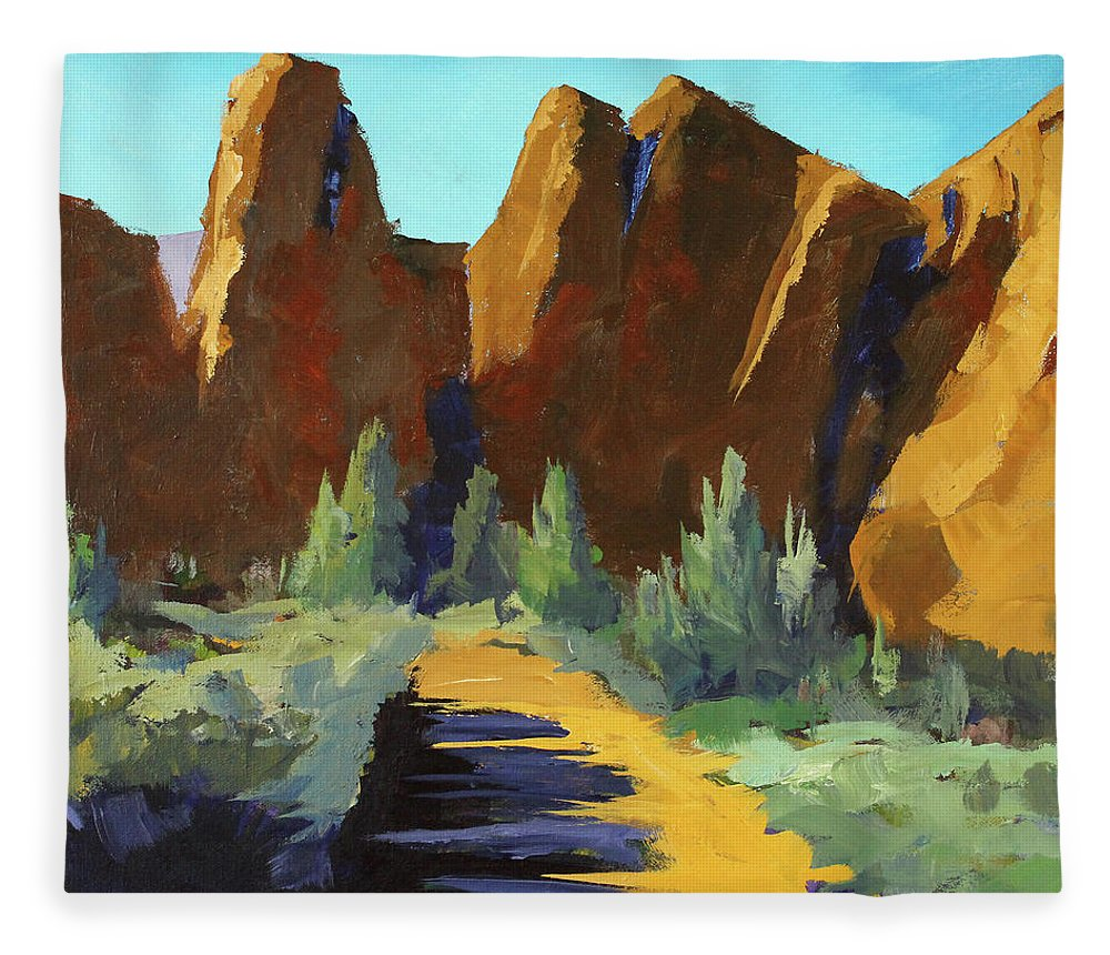 Oregon Landscape Painting Fleece Blanket featuring the painting Smith Rock by Nancy Merkle