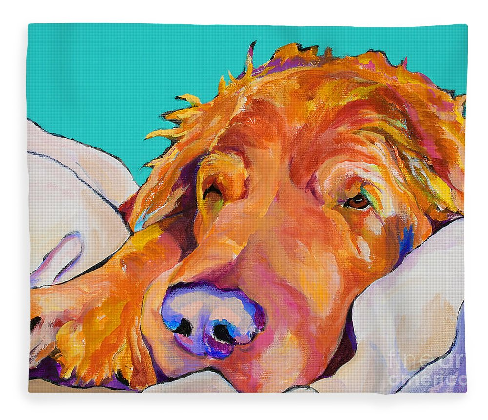 Dog Poortraits Fleece Blanket featuring the painting Snoozer King by Pat Saunders-White