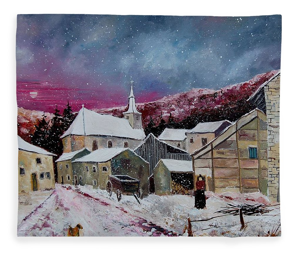 Snow Fleece Blanket featuring the painting Snow Is Falling by Pol Ledent
