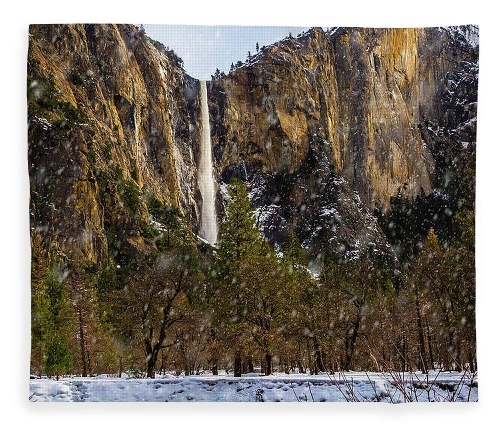 Bridalveil Fall Fleece Blanket featuring the photograph Snowfall Bridalveil Falls by Garry Gay