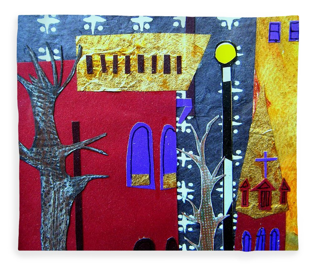 City Fleece Blanket featuring the mixed media Snowstorm Backbay by Debra Bretton Robinson