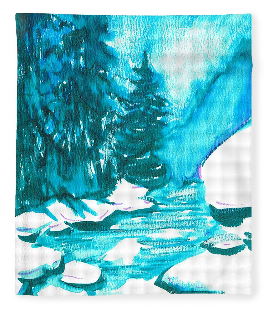 Chilling Fleece Blanket featuring the mixed media Snowy Creek Banks by Seth Weaver